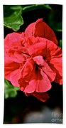 Red Begonia Beach Towel