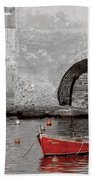 Red Boat In The Harbor At Vernazza Beach Towel