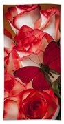 Red Butterfly On Blush Roses Beach Towel