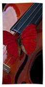 Red Butterfly On Violin Beach Towel