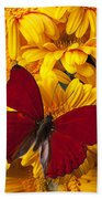 Red Butterfly On Yellow Gerbera Daisies  Beach Towel
