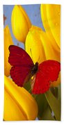 Red Butterful On Yellow Tulips Beach Towel