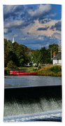 Red Canoes At The Boathouse Beach Towel by Paul Ward