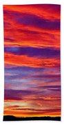 Red Clouds Dawn With Mount Rainier Beach Towel