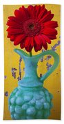 Red Daisy In Grape Vase Beach Towel