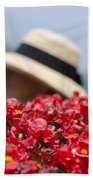 Red Flowers And Straw Hat Beach Towel