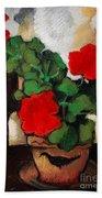 Red Geranium Beach Towel