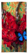 Red Gladiolus And Blue Butterfly Beach Towel