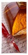 Red Glass Pen  Beach Towel