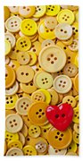 Red Heart And Yellow Buttons Beach Towel