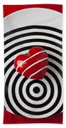 Red Heart On Circle Plate Beach Towel by Garry Gay