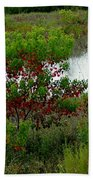 Red In Green Beach Towel