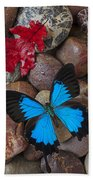 Red Leaf And Blue Butterfly Beach Towel