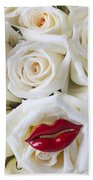 Red Lips And White Roses Beach Towel