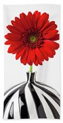 Red Mum In Striped Vase Beach Towel