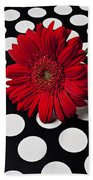 Red Mum With White Spots Beach Towel