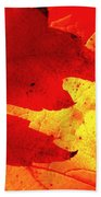 Red On Gold Beach Towel