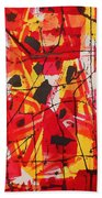 Red Orange Abstract Beach Towel