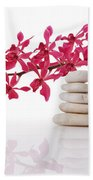 Red Orchid With Balance Stone Beach Towel