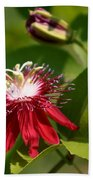 Red Passion Flower Beach Towel