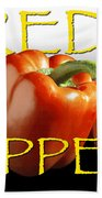 Red Peppers On White And Black Beach Towel