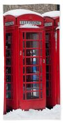 Red Phone Boxes Beach Towel