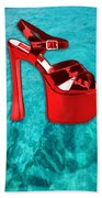 Red Platform Divers Beach Towel