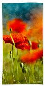 Red Poppy Flowers 01 Beach Towel