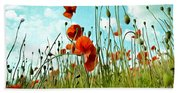 Red Poppy Flowers 03 Beach Sheet