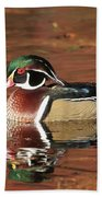 Red Reflection Of A Wood Duck Beach Towel