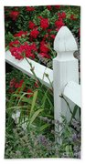 Red Rhododendron And White Post Beach Towel