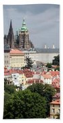 Red Rooftops Of Prague Beach Towel by Linda Woods
