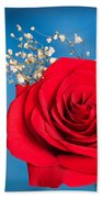 Red Rose And Baby Breath Beach Towel
