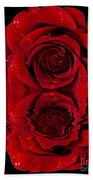 Red Rose Dew Beach Towel