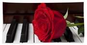 Red Rose On Piano Beach Towel