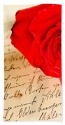 Red Rose Over A Hand Written Letter Beach Towel