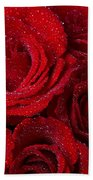 Red Roses And Water Drops Beach Towel