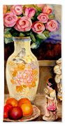 Red Roses Yellow Daffodils In Hand Painted Oriental Antique Vases With Fruit Plate Doves And Angels Beach Towel