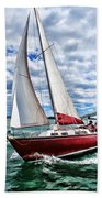 Red Sailboat Green Sea Blue Sky Beach Towel
