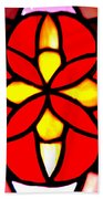 Red Stained Glass Beach Towel
