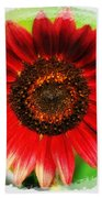 Red Sun Flower Beach Towel