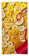 Red Thread And Yellow Buttons Beach Towel