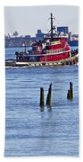 Red Tug One Beach Towel