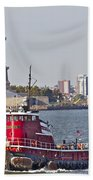Red Tug Three And Liberty Beach Towel