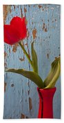 Red Tulip Bending Beach Towel