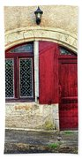 Red Windows And Door Provence France Beach Towel