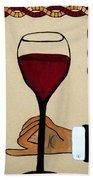 Red Wine Glass Beach Towel
