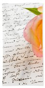 Red Yellow Rose Over A Hand Written Love Letter Beach Towel