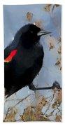 Redwing Blackbird Beach Towel