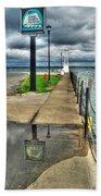 Reflecting At The Erie Basin Marina Beach Towel